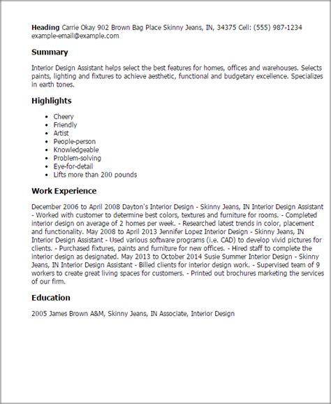 interior designer cover letter 1 interior design assistant resume templates try them