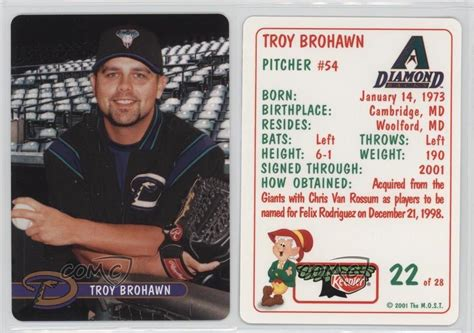 Diamondbacks Giveaways - 2001 keebler arizona diamondbacks stadium giveaway base 22 troy brohawn card ebay
