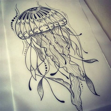 jellyfish tattoo design extraordinary uncolored new school jellyfish design