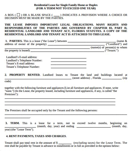 term lease agreement template residential lease agreements 10 free sles exles
