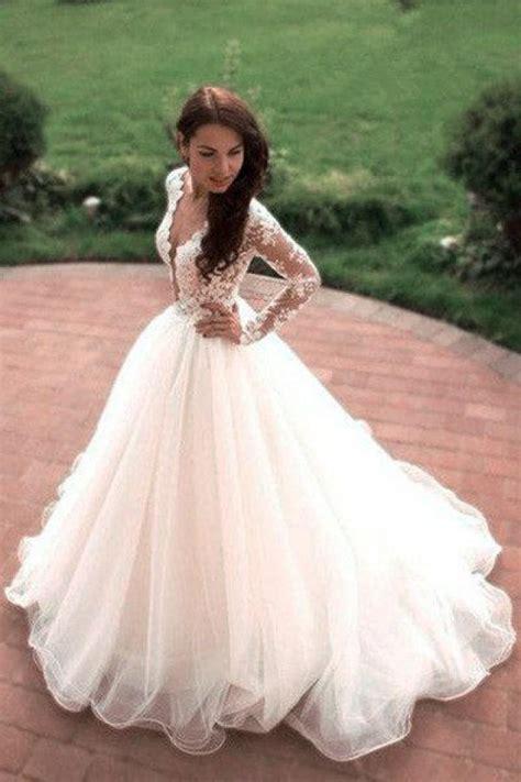 vintage boho summer wedding dresses princess tulle lace tulle skirt long sleeves elegant white