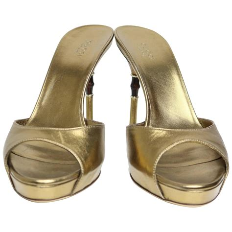 Sandal Gucci Slip On 668 1 gucci gold metallic leather slip on sandals bamboo heels for sale at 1stdibs