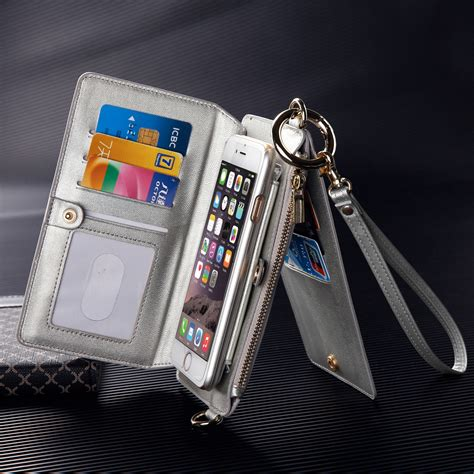 for iphone 7 plus luxury leather zipper wallet detachable cover with ebay