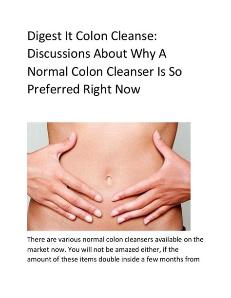 Why Is It So To Detox by Digest It Colon Cleanse Discussions About Why A Normal