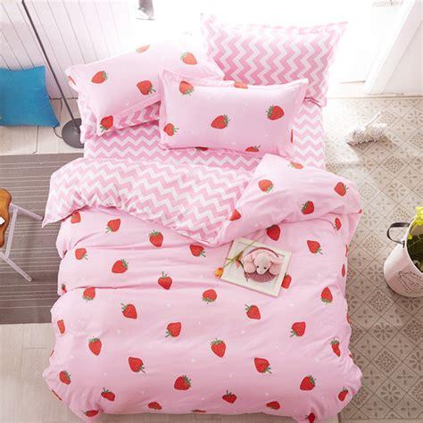 Set Flanel Strawberry pink sweet strawberry printing bed sheet set 4 pieces se10382 www sanrense