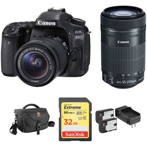dslr or digital canon eos 80d dslr with 18 55mm and 55 250mm
