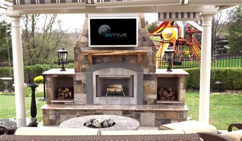 Outdoor Fireplace Tv by Outdoor Tv Pictures Skyvue Outdoor Tv Gallery Skyvue