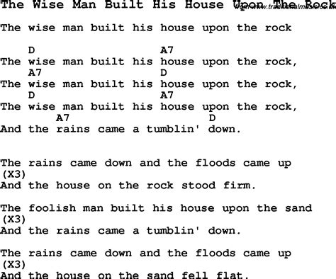 the wise man built his house upon the rock summer c song the wise man built his house upon the rock with lyrics and chords