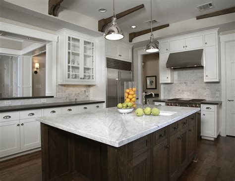 carrara marble kitchen backsplash industrial yoke pendants transitional kitchen