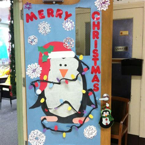 office door christmas decorating ideas 4 calling birds my penguin door door decorations door penguins and string