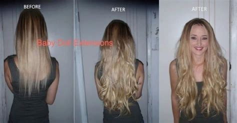 babydoll hair extensions before after baby doll hair extensions 174 185gram clip in