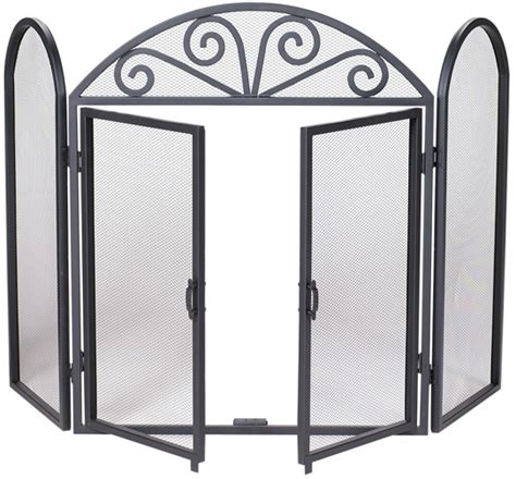 Uniflame Fireplace Screen With Doors by Uniflame Black Wrought Iron 3 Fold Fireplace Screen With Arch Scroll And Doors