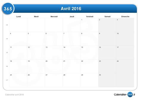 Calendrier 5 Avril 2016 Calendrier Avril 2016