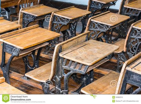 fashioned student desk student classroom desks stock photo image 34082310