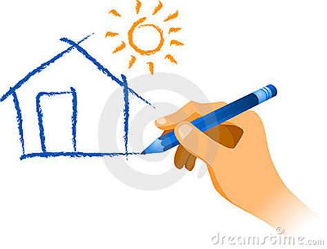 draw a picture drawing a house with sun stock photos image 6617343