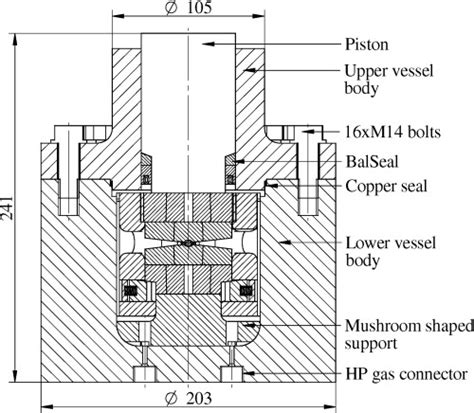 sectional view a cross sectional view of the pressure vessel assembled