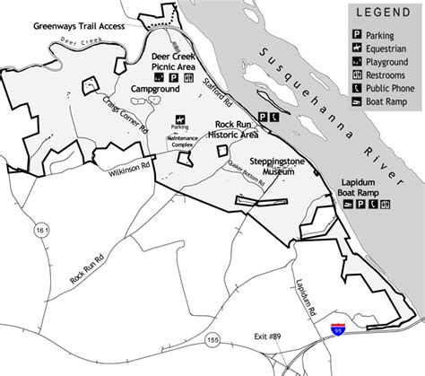 map of susquehanna state park details of acorn and