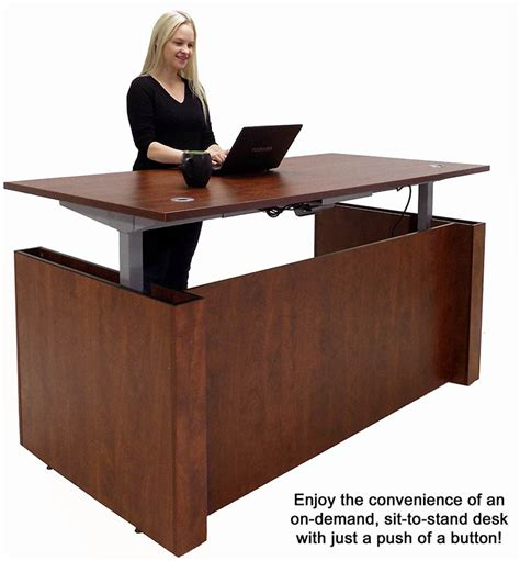 Adjustable Height Executive Office Desk In Cherry Adjustable Height Office Desk