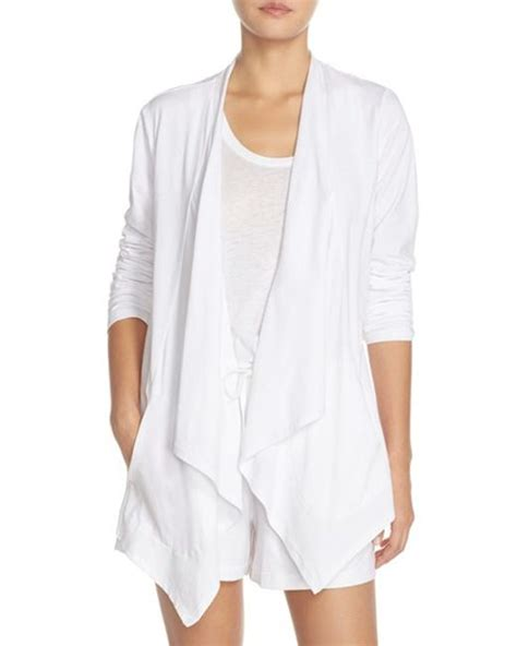 cotton drape cardigan dkny drape front jersey stretch pima cotton cardigan in