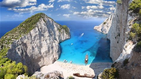 zakynthos island beach greece blue water  wallpaper wallpapersbyte