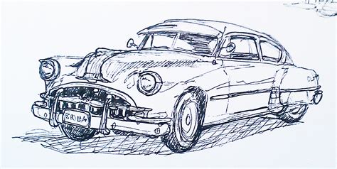 Sketches Of Cars by Sketching At Fort Paull Classic Us Car Rally 24 04 2011