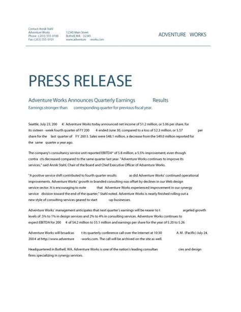 partnership press release template news release format template business