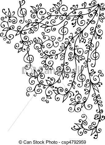 imagenes en blanco y negro de notas musicales eps vectores de musical vi 241 eta ccxlvi musical floral