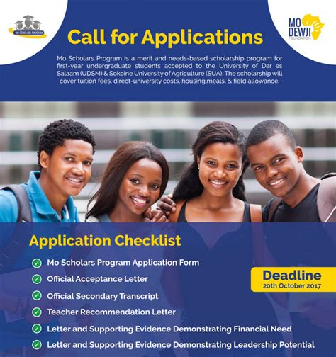 Missouri State Mba Application Deadline by Mo Dewji Foundation Scholarships 2017 For High Performing
