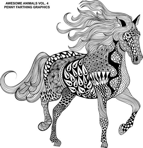intricate horse coloring pages the horse from quot awesome animals vol 4 quot cheval