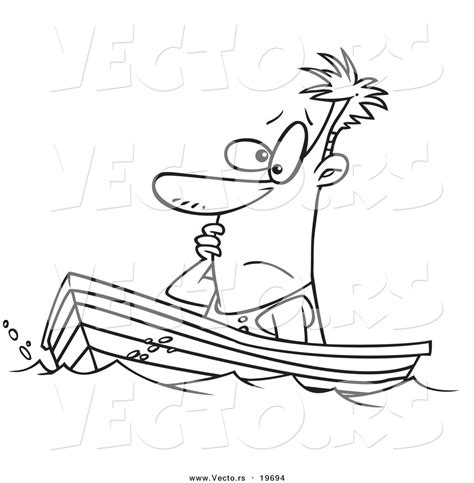 houseboat outline vector of a cartoon man drifting in a boat outlined