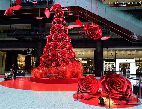 merry christmas grand front osaka red rose blossom christmas tree