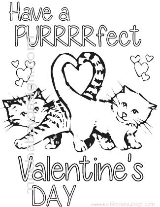 kitten valentine coloring page printable purrfect cats with heart tail valentine s day