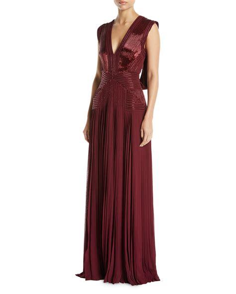 V Neck Sleeveless Evening Gown zac posen v neck sleeveless draped back beaded pleated