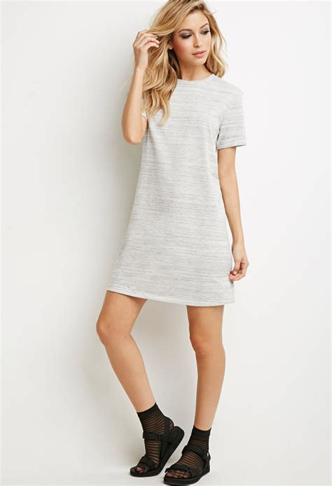 knit t shirt dress forever 21 marled knit t shirt dress in gray lyst