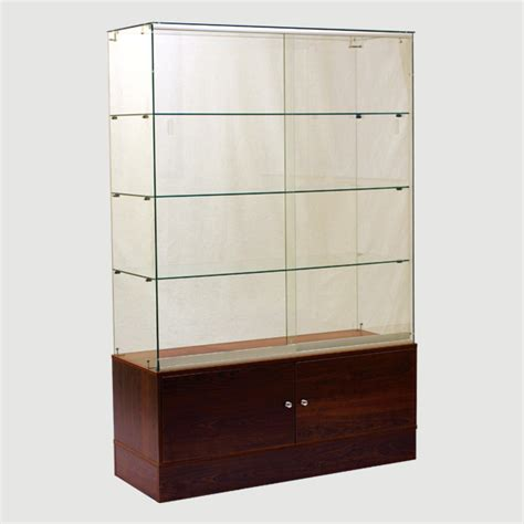 glass wall cabinet for retail store half vision half