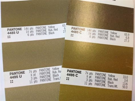 gold pantone color pantone gold printed on right c coated stock and u