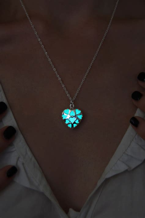 Glowing Necklace glow in the necklace aqua small glowing pendant