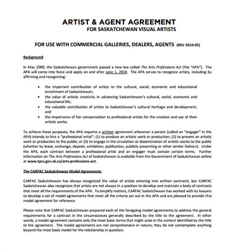 12 Sle Artist Contract Templates To Download For Free Sle Templates Artist Gallery Contract Template