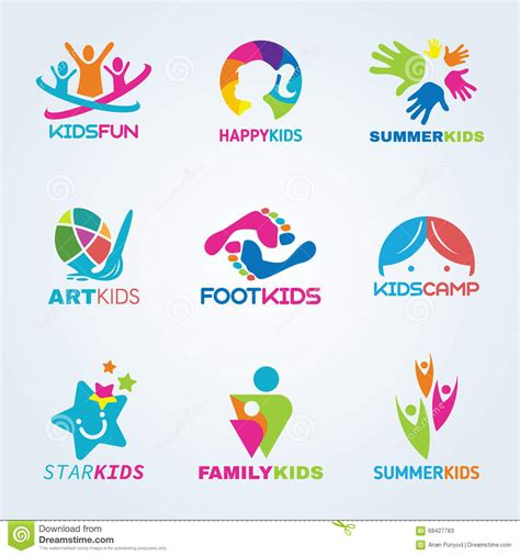 kids logo design stock illustration image of childhood kids child art and fun logo vector set design stock
