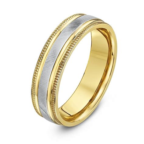 5mm Wedding Ring by 5mm Two Colour 9ct Yellow White Gold Wedding Ring Band