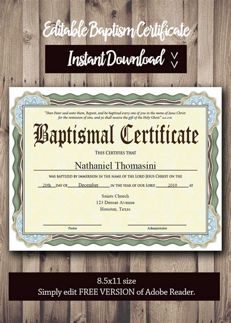 Free Editable Baptism Certificate Template by Baptism Certificate Template Pdf Adobe Reader Editable File