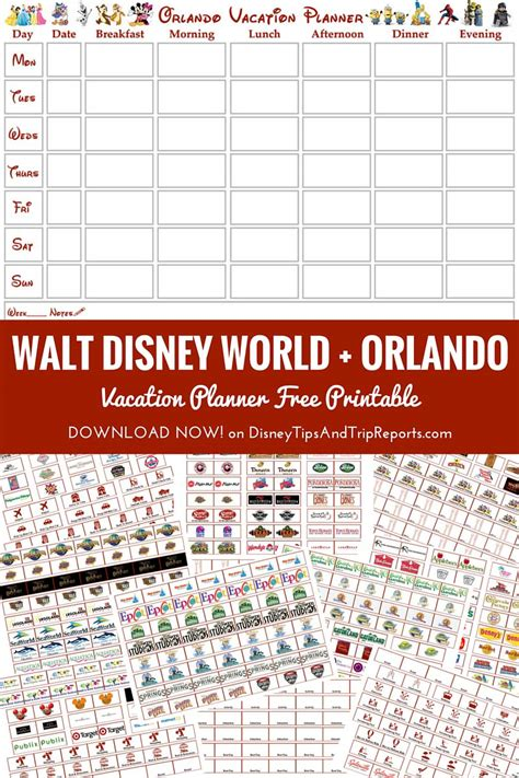 printable orlando holiday planner walt disney world orlando vacation planner free