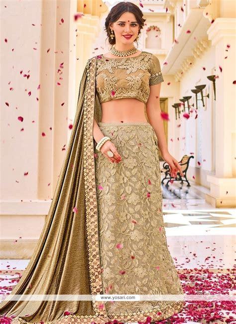 Sari Gold buy gold embroidered work net lehenga saree wedding sarees