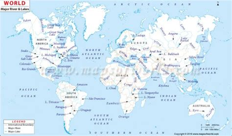world map of seas and lakes buy world river map