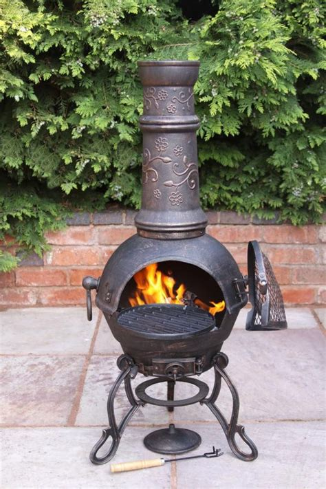 Chiminea Patio Solid Cast Iron Chimenea And Bbq Combi Bronze Chiminea