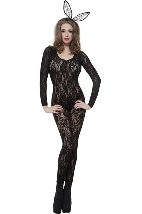 Stocking Ideas by Preowned Lace Long Sleeved Bodystocking With Open Crotch