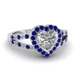 Blue Sapphire Memo Kgl sapphire halo split engagement ring in 14k white gold fascinating diamonds