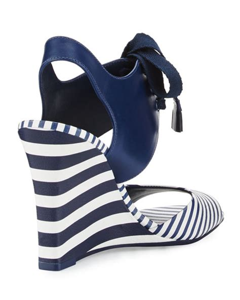 Erotokritos Blue And White Stripe Wedge by Burch Maritime Striped Wedge Sandal Blue White