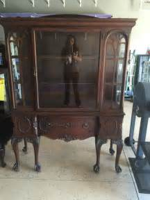 antique wood glass china cabinet