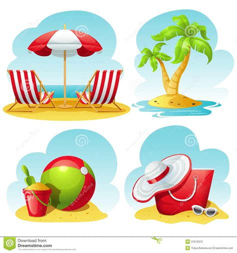 Tropical Beach Theme - beach icon set stock vector image of recliner travel 31672072